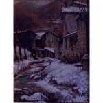 quadro d'arte contemporanea,olio su tela, rappresentazione di un angolo della Valtrompia innevata.