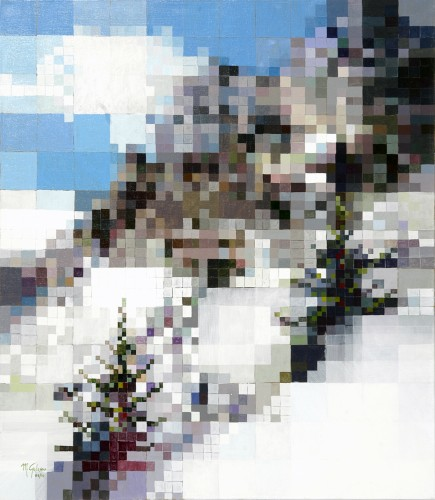 neve,nevicata in montagna, dipinto su tela