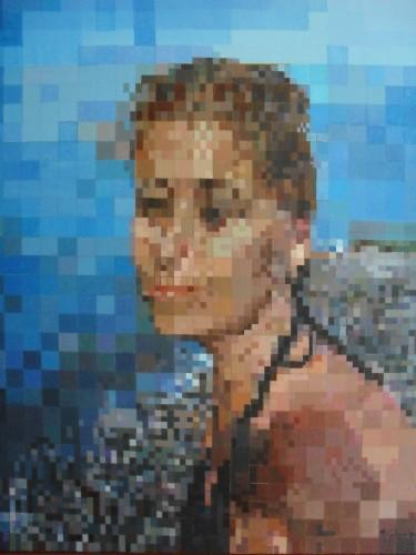 dipinto in pixelart, acrilico su tela