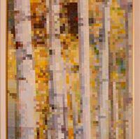 Betulle, paesaggio in PIXEL ART, acrilico su tela